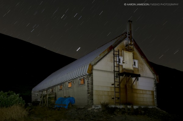 Getting creative and painting the hut in with my head torch on a long exposure